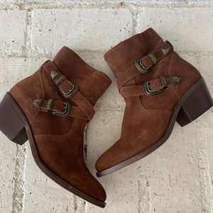 Patricia Nash western brown leather buckle booties